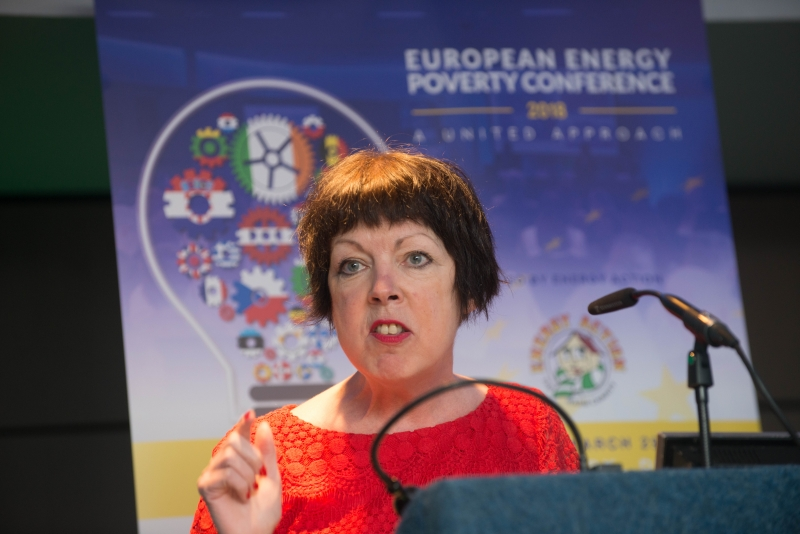 Theresa Griffin MEP addresses European Energy Poverty Conference 2018, Croke Park, March 29th, 2018. Photograph by WovenContent
