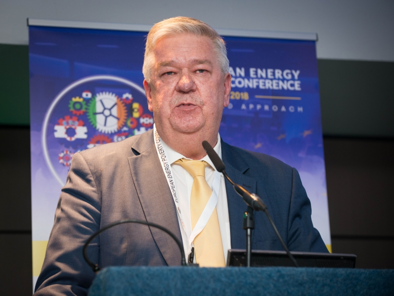 JOHN DWANE, Electric Ireland, addresses the European Energy Poverty Conference 2018, Croke Park, March 29th, 2018. Photograph by WovenContent