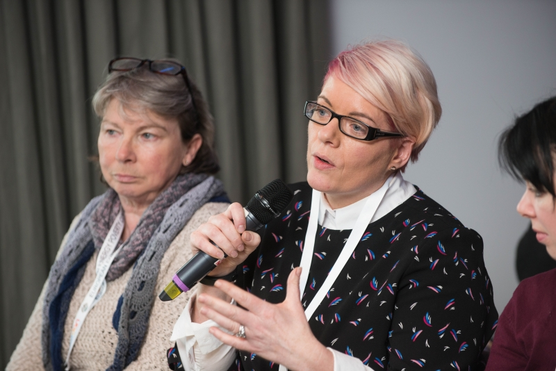 Gwen Harris, MABS, asks a question at the European Energy Poverty Conference 2018, Croke Park, March 29th, 2018. Photograph by WovenContent
