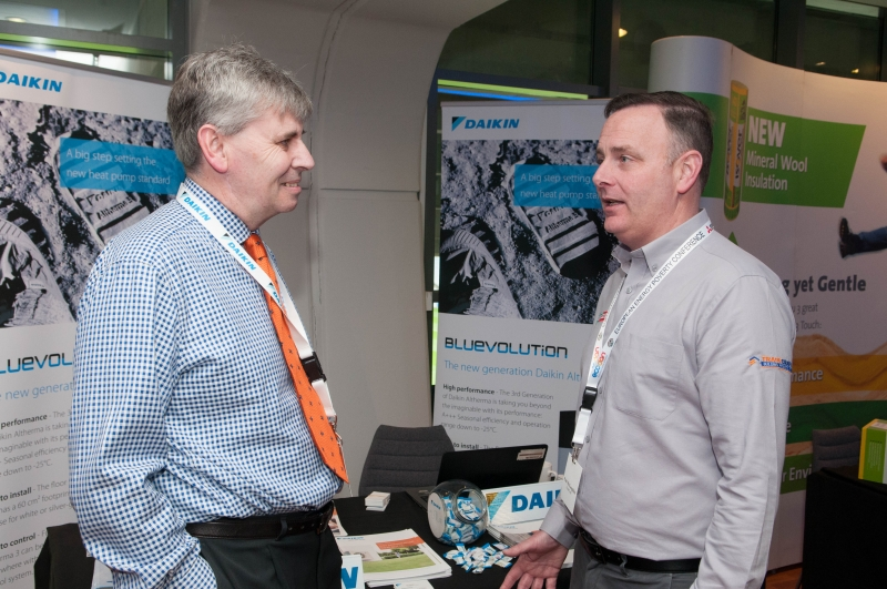 Ian Killoch, Daikin, and Paul McLoughlin, Parex Lanko, at the European Energy Poverty Conference 2018, Croke Park, March 29th, 2018. Photograph by WovenContent