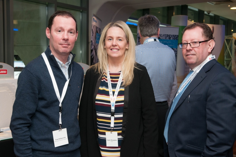 Paul Kilmartin, Midlands Warmer Homes, Linda Monaghan, SEAI and John Flynn SEAI at the European Energy Poverty Conference 2018, Croke Park, March 29th, 2018. Photograph by WovenContent