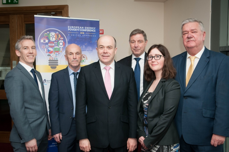 DENIS NAUGHTEN TD (Center) Minister for Communications, Climate Action & Environment at the European Energy Poverty Conference 2018, Croke Park, March 29th, 2018. with DERMOT MULLIGAN Marketing Controller, Bord Gáis Energy, BRIAN MCSHARRY CEO, Energy Action, DAVID MCCARTHY Chairman, Energy Action. MARION TROY, Head of Corporate Affairs, SSE, and JOHN DWANE, Customer Operations & Regulation Manager at Electric Ireland. Photograph by WovenContent