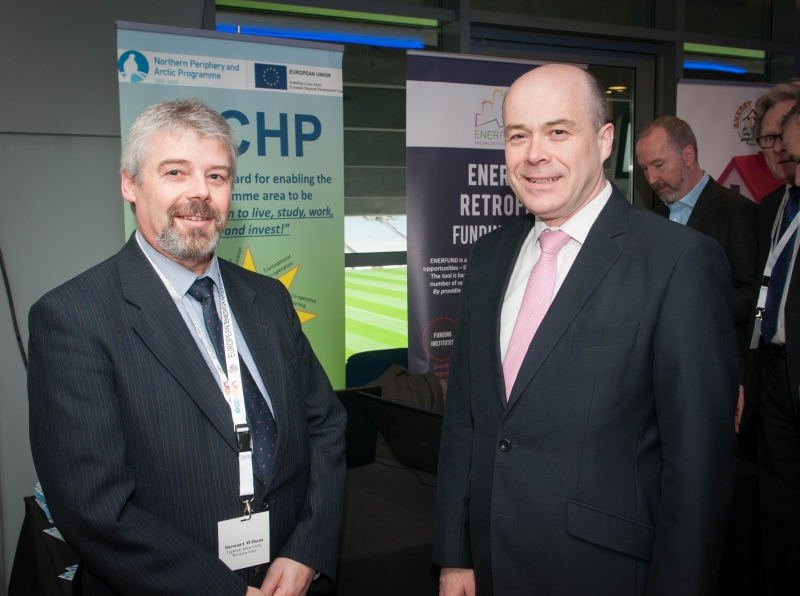 Stewart Wilson and Minister Denis Naughton at the European Energy Poverty Conference 2018, Croke Park, March 29th, 2018. Photograph by WovenContent