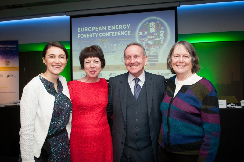 Charles Roarty, Energy Action with CLAIRE DHÉRET Head of Programme, European Policy Centre, THERESA GRIFFIN Member of European Parliament, DR BRENDA BOARDMAN Emeritus Fellow, Environmental Change Institute, Oxford University at the European Energy Poverty Conference 2018, Croke Park, March 29th, 2018. Photograph by WovenContent