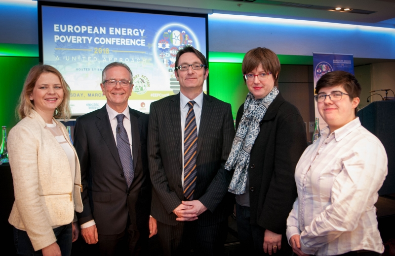 SLAVICA ROBIC Executive Director, DOOR Croatia, EUGENE CONLON Community Leader, Dunleer, Co. Louth CDB, TOM ROWLEY Director, Energy Action, PROF. UTE DUBOIS Professor of Economics, ISG Business School and DR HARRIET THOMSON Lecturer in Global Social Policy and Sociology at University of Birmingham at the European Energy Poverty Conference 2018, Croke Park, March 29th, 2018. Photograph by WovenContent