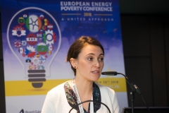 CLAIRE DHÉRETHead of Programme, European Policy Centre addresses European Energy Poverty Conference 2018, Croke Park, March 29th, 2018. Photograph by WovenContent