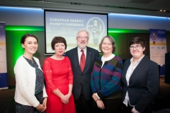 CLAIRE DHÉRET Head of Programme, European Policy Centre, THERESA GRIFFIN Member of European Parliament, PROF J OWEN LEWIS Emeritus Professor of Architectural Science, UCD, DR BRENDA BOARDMAN Emeritus Fellow, Environmental Change Institute, Oxford University, DR HARRIET THOMSON Lecturer in Global Social Policy and Sociology at University of Birmingham at the European Energy Poverty Conference 2018, Croke Park, March 29th, 2018. Photograph by WovenContent