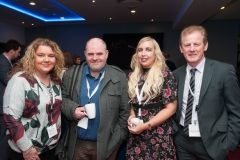 Denise Colvin and  Stepehn Bingham, of Power NI with Jessica Speers and Malachy McVeigh, Energia at the European Energy Poverty Conference 2018, Croke Park, March 29th, 2018. Photograph by WovenContent