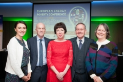 BRIAN MCSHARRY and CHARLES ROARTY, Energy Action with CLAIRE DHÉRET Head of Programme, European Policy Centre, THERESA GRIFFIN Member of European Parliament, DR BRENDA BOARDMAN Emeritus Fellow, Environmental Change Institute, Oxford University at the European Energy Poverty Conference 2018, Croke Park, March 29th, 2018. Photograph by WovenContent,