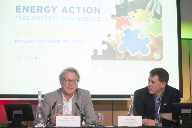 Fuel Poverty Conference / Energy Action - Oct 21st 2019 - Croke Park -*-Fuel Poverty Conference / Energy Action - Oct 21st 2019 - Croke Park -*-Adrian Joyce,Secretary General of the European Alliance of Companies for Energy Efficiency in Buildings (EuroACE) and Paul Kenny, CEO. Tipperary Energy Agency.