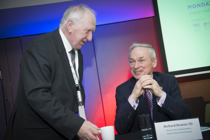 Energy Action Conference - Oct 21st 2019 - Croke Park -*-Brendan Tuohy, Chairman of the SFI MAREI Research Centre chats with Richard Bruton, Minister for Communications, Climate Action & Environment.