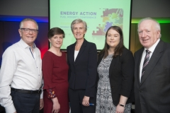 Fuel Poverty Conference / Energy Action - Oct 21st 2019 - Croke Park -*-Eugene Conlon, Louth Energy, Anne Marie Hynes, Midland Warmer Homes, Finola Moylett, Department of Rural and Community Development,Caoime McCarthy,SEAI and Brendan Tuohy, Chairman of the SFI MAREI Research Centre
